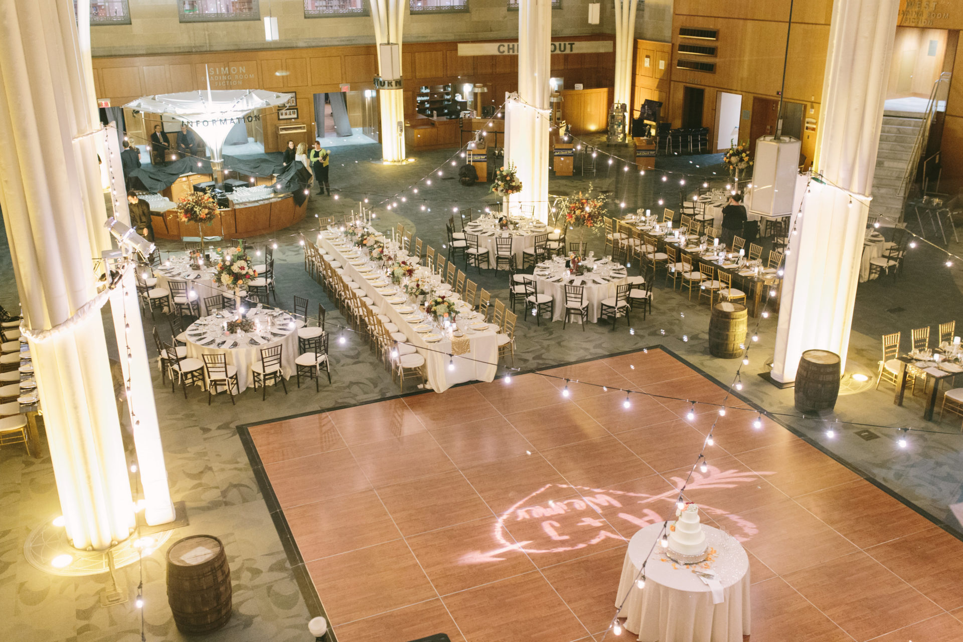 Indianapolis Public Library Dance Floor With Monogram
