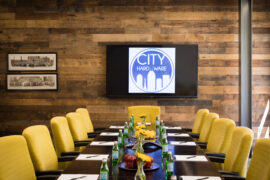"""Conference Table at City Hardware with refreshments"""